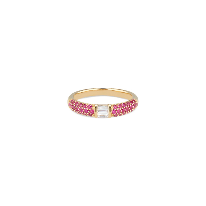 18kt Yellow Gold Ruby & Baguette Diamonds Stacked Half Eternity Band