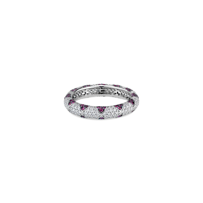 14kt White Gold Ruby Petals & Pave Diamonds Lotus Eternity Band