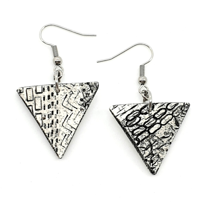 Geometric Black & White Chic Polymer Statement Earrings