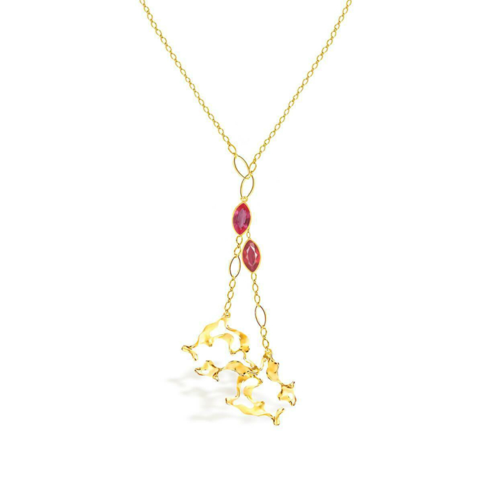 18kt Yellow Gold & Ruby Cendiaire Flame Necklace