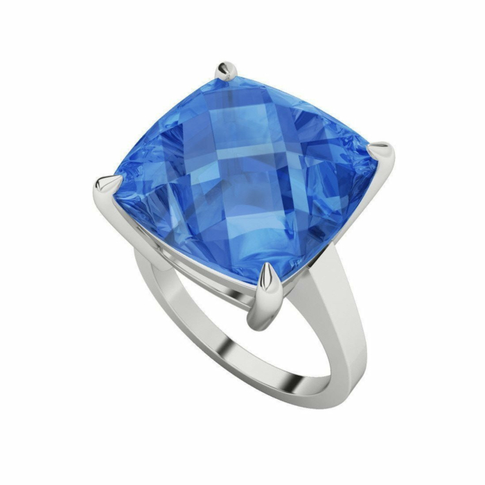 Blue Topaz Cushion Checkerboard Sterling Silver Ring