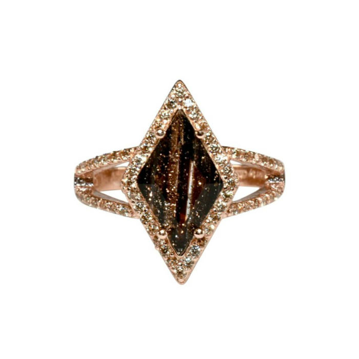 Rose Gold Plated Kite Ring With Black Glass Stone