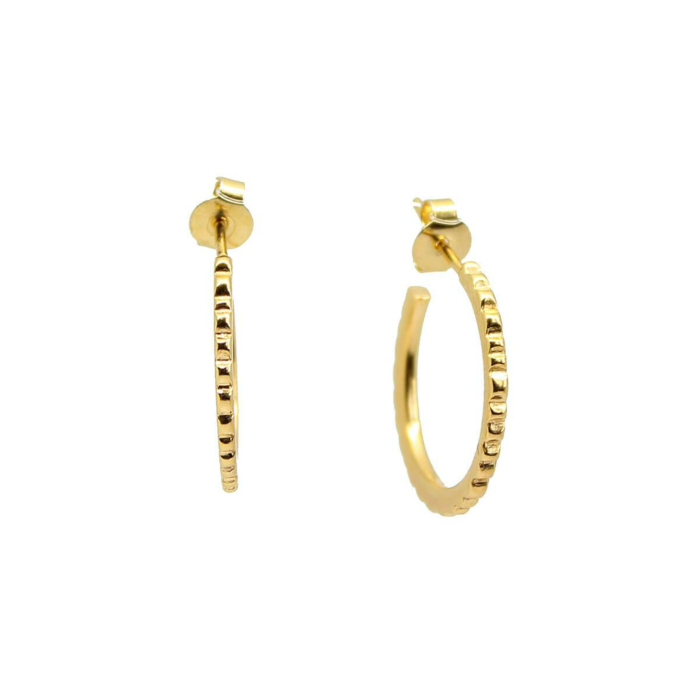 Yellow Gold Plated Facet Hoops
