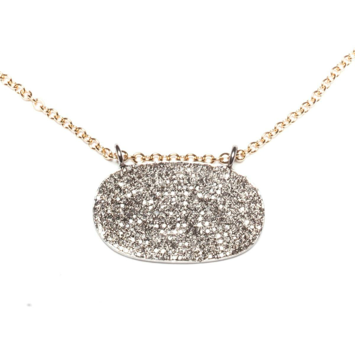 Rhodium Plated Pave Oval Necklace