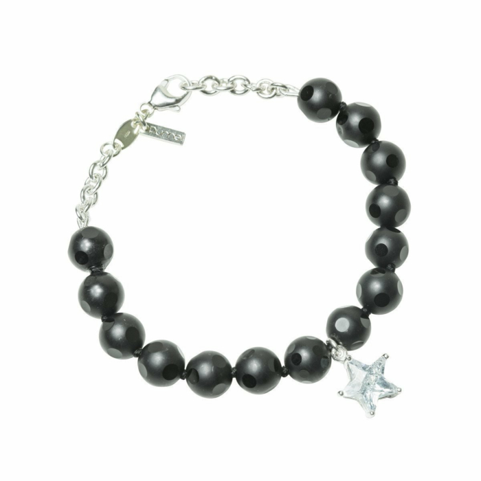 Silver and Frosted Circle Onyx Star Bracelet