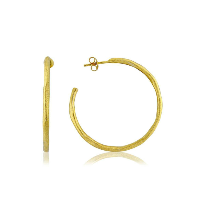 Yellow Gold Plated Olivera Large Hoop Earrings