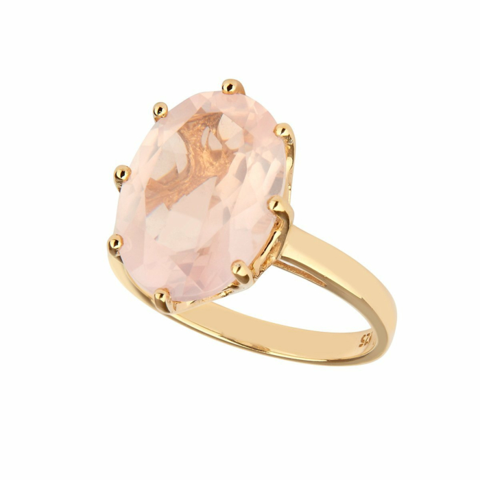14kt Yellow Gold Plated Sterling Silver Rose Quartz Ring