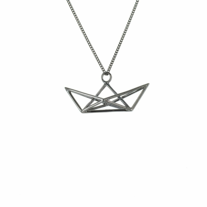 Black Silver Frame Boat Origami Necklace