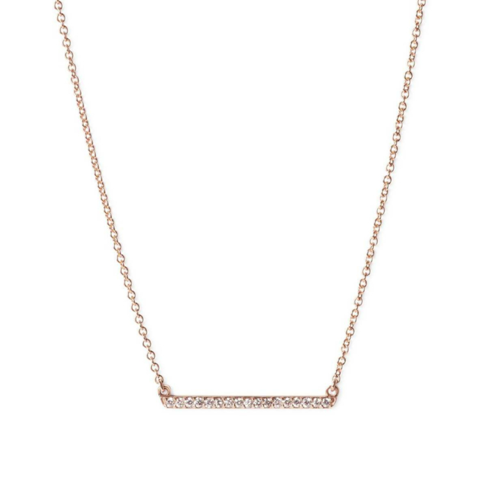 9kt Rose Gold Diamond Bar Necklace