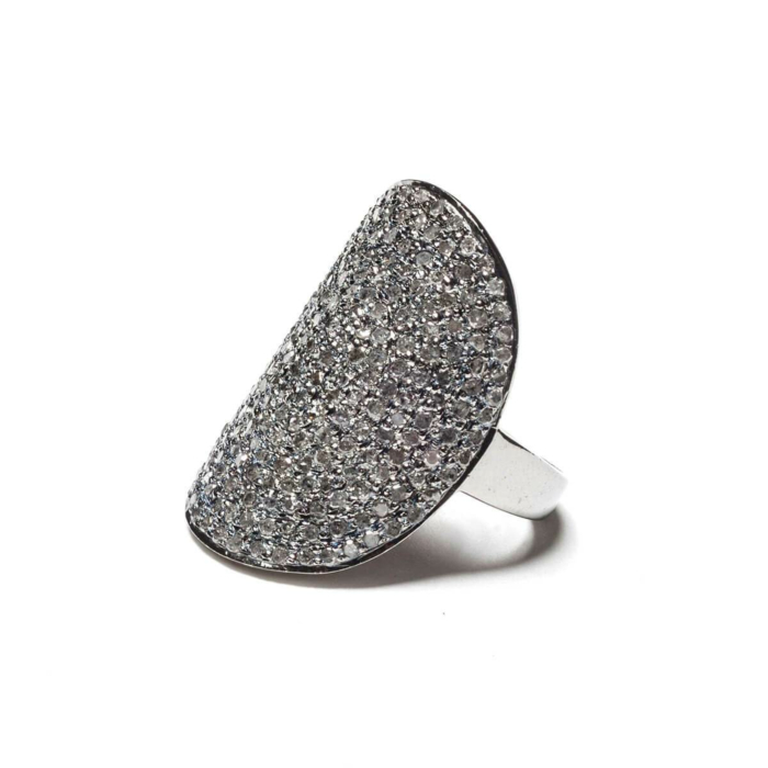 Rhodium Plated Pave Diamond Shield Ring