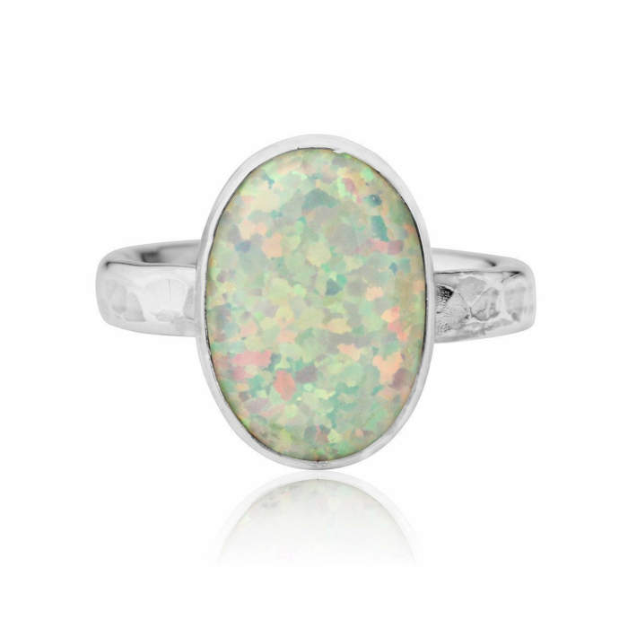 Hammered Sterling Silver & White Opal Ring
