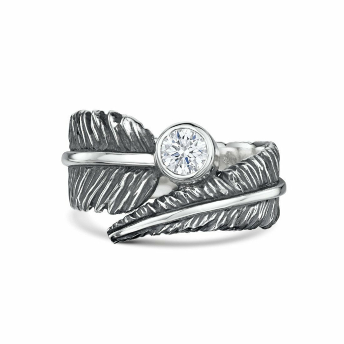 Sterling Silver & Cubic Zirconia Feather Ring | Becky Rowe