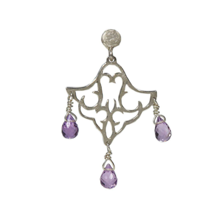 Sterling Silver Small Dangling Earrings With Amethyst II