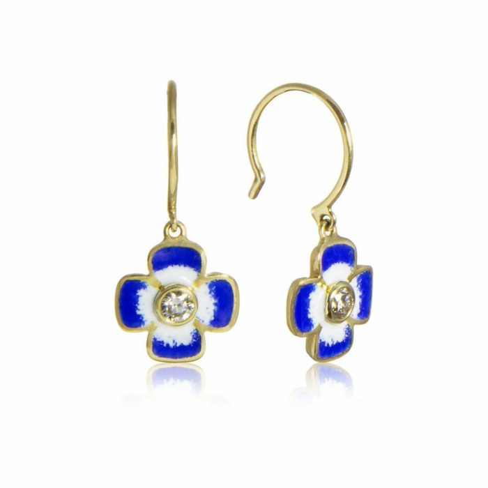 Anthea Diamond and Enamel Flower Earrings