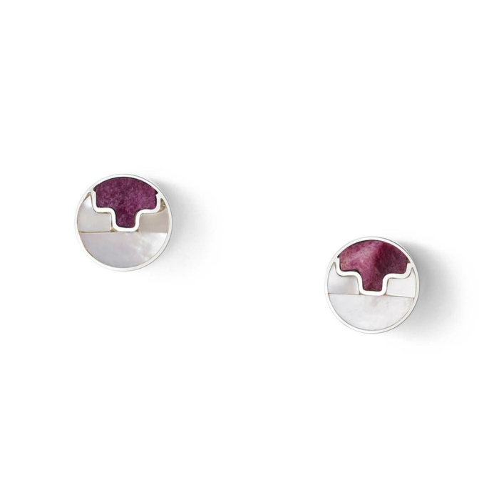Sterling Silver Mosaic Purple Studs