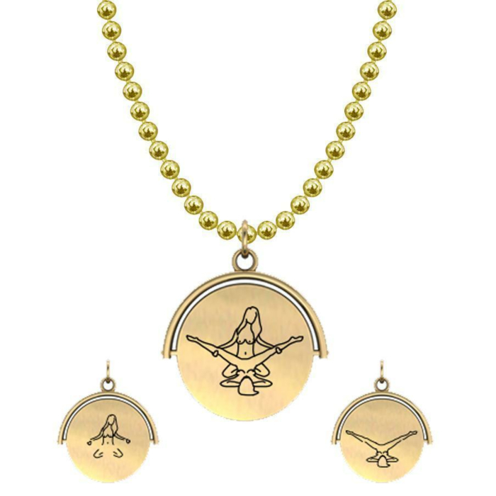 Allumersutra 13MM Gold Pendant Necklace - Girl And Girl - The Eagle