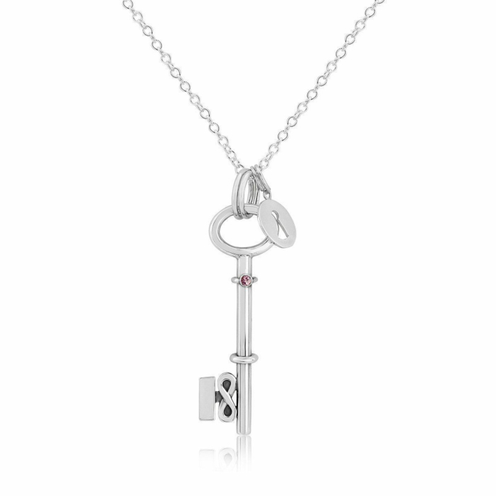 Sterling Silver 18 Key Necklace Set With Pink Sapphire