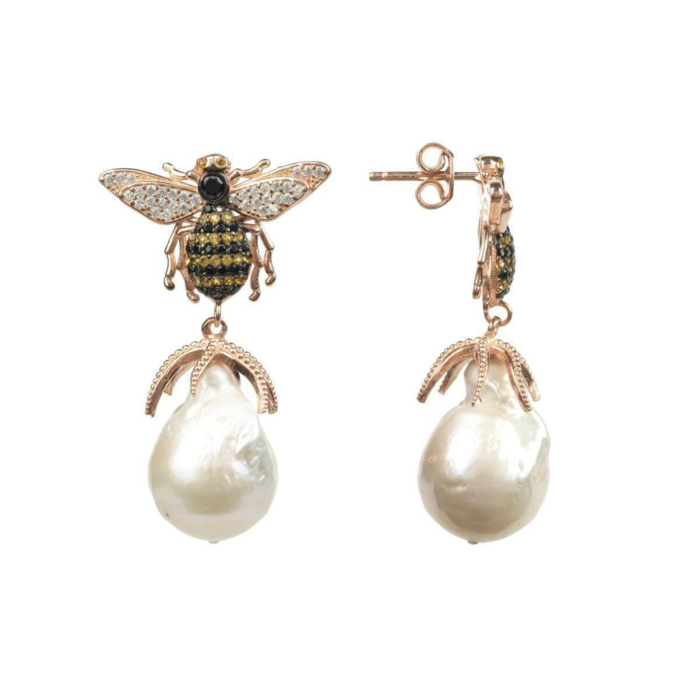 Rose Gold Plated Silver Honey Bee Baroque Pearl Drop Earrings