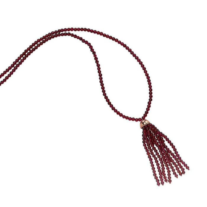 Elegant Long Garnet Tassel Necklace