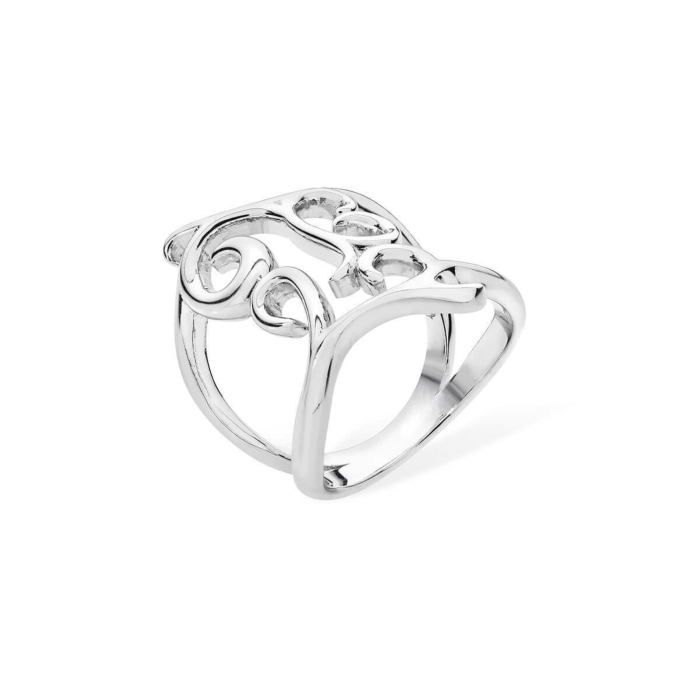 Rhodium Plated Tall Elements Ring