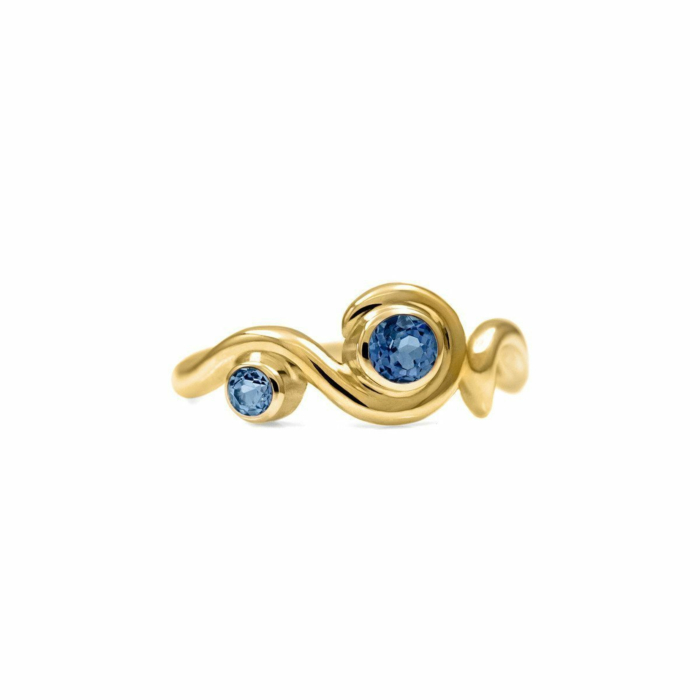 Entwine Two Stone Ring In Gold With Sapphire