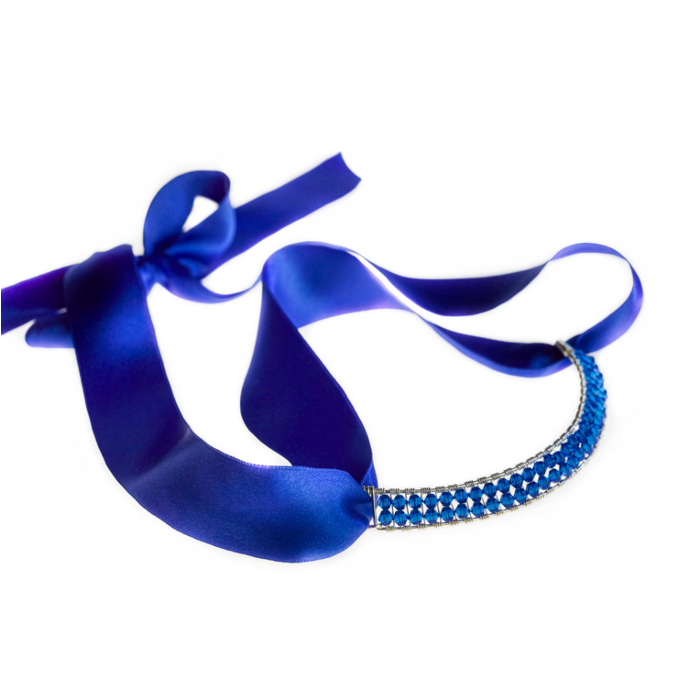 Sterling Silver Capri Blue Bowie Collar With Swarovski Crystals