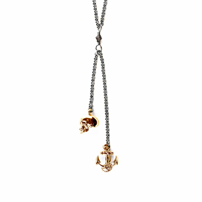 Gold Skull & Anchor Pendant