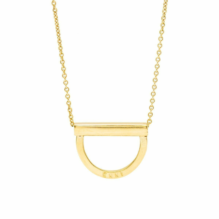Personalised Curve Bar Stack Necklace Yellow Gold Plated