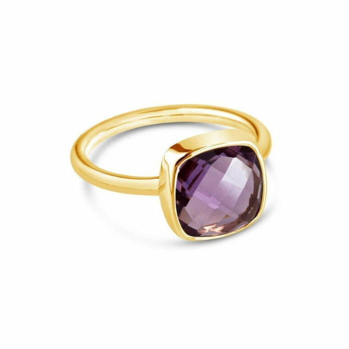 Purple Amethyst Cocktail Ring in Yellow Gold