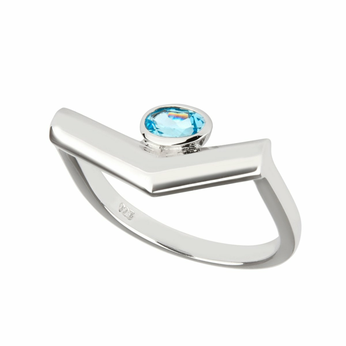 Sterling Silver Blue Topaz Simple Ring