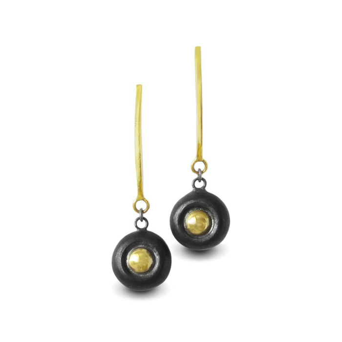 Black Patinated Silver Earrings With 18kt Gold Accents