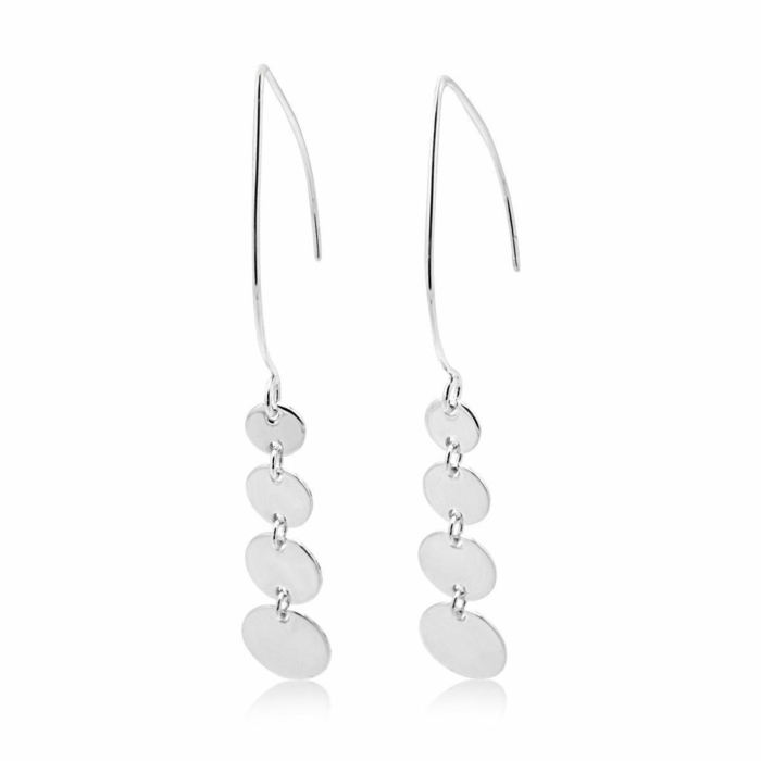 Sterling Silver Cherish Circle Large Dangle Marquise Earrings