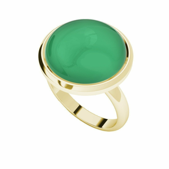 Chrysoprase Yellow Gold Plated Cabochon Ring