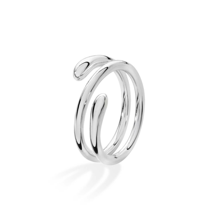 Coil Drop Ring Silver