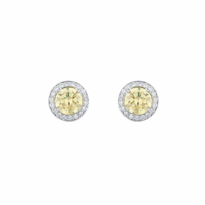 18kt White Gold Antique Canary Stud Earrings