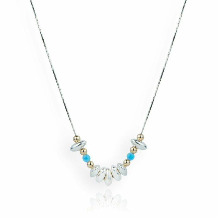 Gold, Sterling Silver & Opal Nugget Necklace