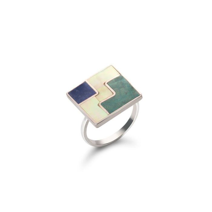 Sterling Silver Mosaic Three Worlds Ring