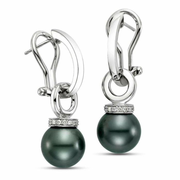Black Tahitian Pearl And Diamond Earrings - 30mm