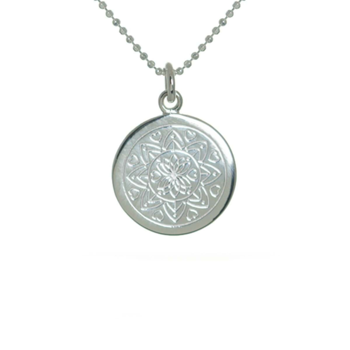 Sterling Silver Love Mandala Disc Necklace