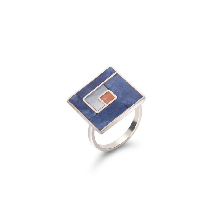 Sterling Silver Mosaic Square Ring