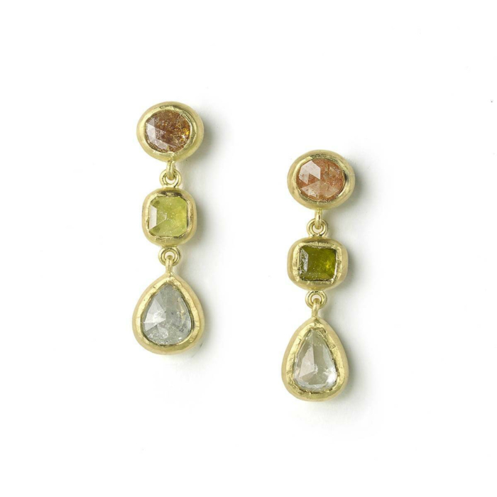 18kt Yellow Gold Rose Cut Coloured Diamond Earrings