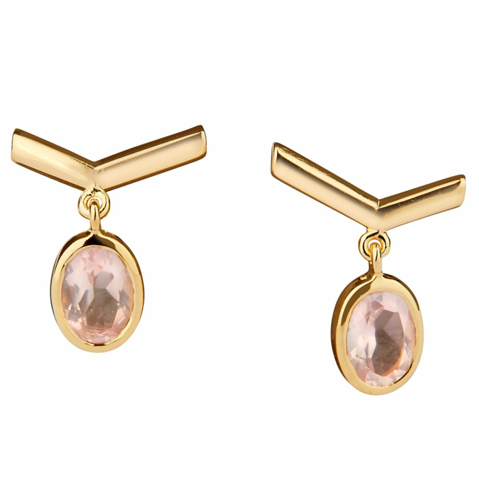 14kt Yellow Gold Plated Sterling Silver Simple Rose Quartz Visionary Earrings
