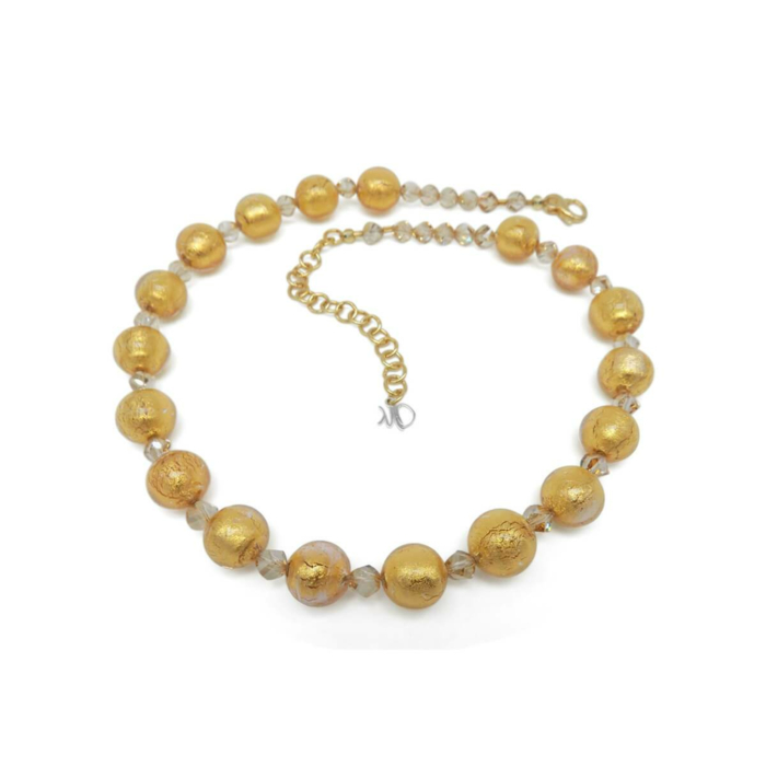 Murano Glass Bead Golden Heart Necklace