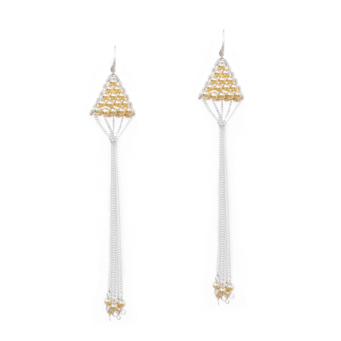 Sterling Silver Triangulum Gold Pearl Earrings