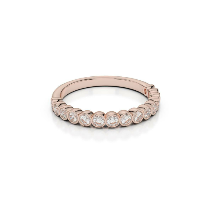 18kt Rose Gold Half Eternity Ring With Round-Cut, Rub-Over Set Diamonds II