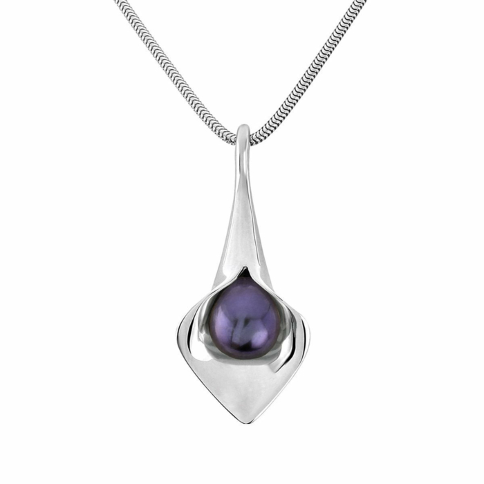 Sterling Silver Large Short Lily Pearl Pendant