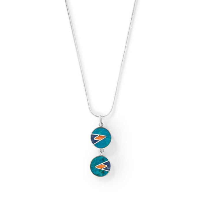Sterling Silver Mosaic Ocean Pendant Necklace