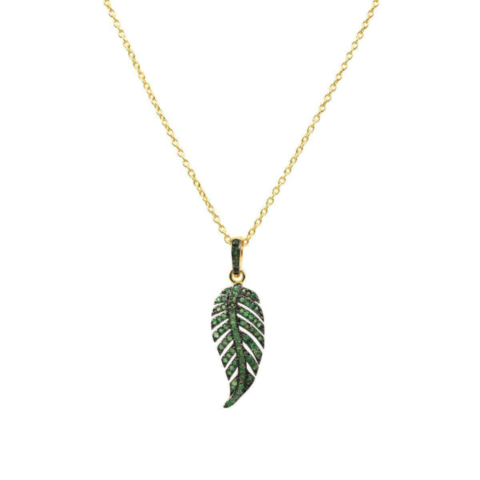 Yellow Gold Plated Tsavorite Leaf Necklace