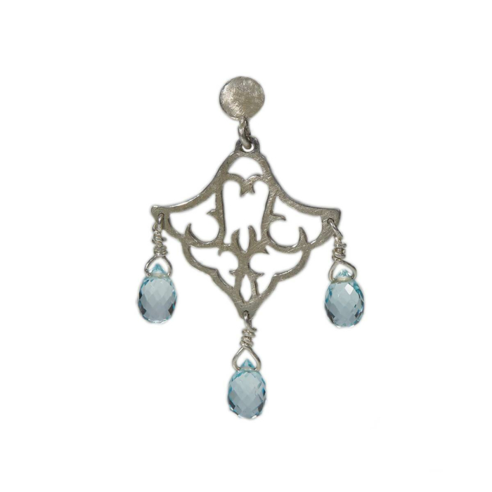 Sterling Silver Small Dangling Earrings With Blue Topaz