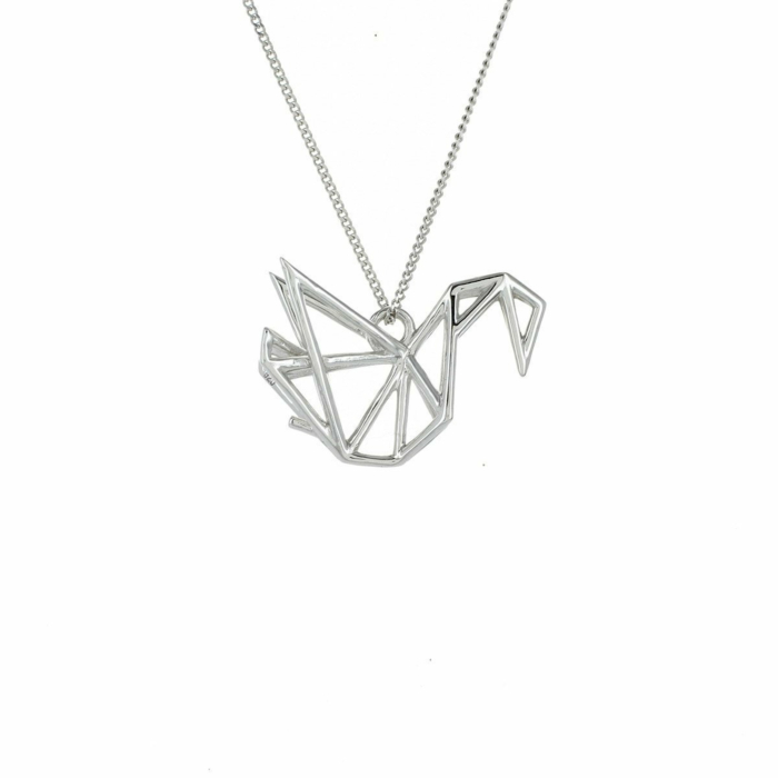 Sterling Silver Frame Swan Origami Necklace